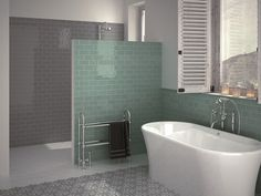 Masia wall tiles produce a clean and classic look that is ideal for the home, from the kitchen to the bathroom. Bathroom Tile Inspiration, Contemporary Bathtubs, Bathroom Colors, Modern Bathroom, Brick Tiles Bathroom, Grey Bathrooms, Blue Modern Bathrooms, Bathroom Design, Bathroom Tiles Pictures