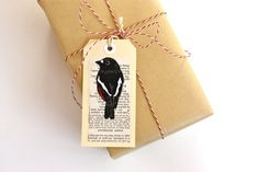 Red Robin Lino Print Luggage Style Tags  Pack of by trees4thewood