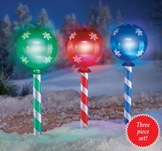 Solar Holiday Candy Light Stakes - Set of 3