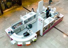 YooMoo frozen yoghurt bar designed by Sheridan Kiosk Design, Cafe Design, Store Design, Booth Design, House Design, Coffee Shop For Sale, Juice Bar Design, Mall Kiosk, Food Kiosk