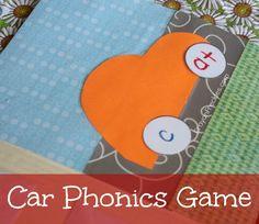 car phonics: file folder game for preschoolers