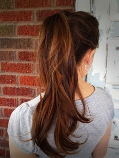 High ponytail + carmel highlights + layers Follow me on Instagram! @snowbirdbluexo