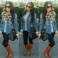 Cognac boots, black denim skinnies, striped top, chambray shirt, leopard print scarf... casual look with all my favorite fall pieces!!