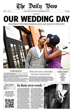 Welcome to The Wedding Press! Im a magazine editor and former newspaper reporter who makes custom digital downloads of your own wedding newspaper