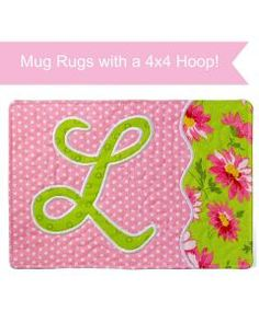 Personalized a mug rug for yourself or as a gift that will be treasured! Our Monogrammed Mug Rugs are fast and easy to stitch and feature a beautiful applique font! You'll receive 26 files with the applique font built into each design. Local Embroidery, Embroidery Monogram, Embroidery Applique, Machine Embroidery Designs, Embroidery Patterns, Sewing Patterns, Modern Embroidery, Embroidery Thread, Mug Rug Patterns