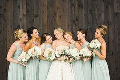 A refreshing mint palette paired with an oceanside views sound gorgeous enough, but add in the fact that this family affair is brimming with DIY details? Well, it puts the significance in the celebration. From the fabric draped ceilings adorned Camo Bridesmaid Dresses, Amsale Bridesmaid, Brides And Bridesmaids, Wedding Dresses, Wedding Bouquets, Wedding Gallery, Hamptons Wedding, Sage Green Wedding, Perfect Wedding Dress