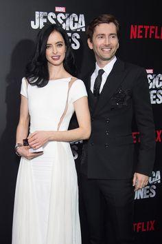 Krysten Ritter (L) and David Tennant attend the Jessica Jones series premiere at Regal E-Walk(Picture: Michael Stewart/WireImage)