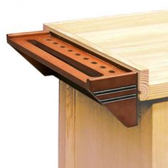 Hammer & Mandrel Rack :  add a French cleat to the back of this tool rack and a mating cleat to your bench for an easy accessible tool storage.