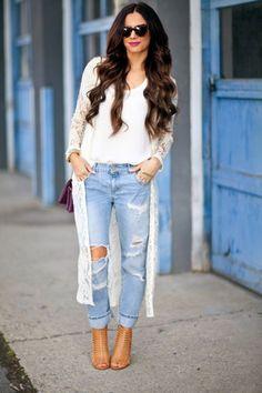 denim + shoes + long hair