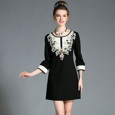 Women Black White Contrast 3/4 Sleeve Floral Embroidery Embellished Short Autumn Dress Plus Size l-5xl