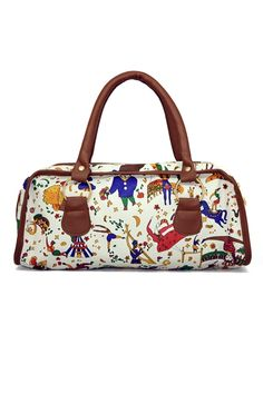 This handbag crafted in PU, featuring circus printing to the main, trimmed edge, double handle, top zip closure.$29