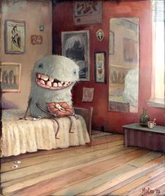 One Tooth Three - by Mateo Dineen #zozoville has the weirdest, yet cutest monster art pieces you've ever seen