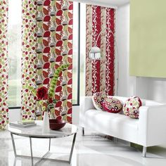 Clarke and Clarke - Scandia Fabric Collection - White curtains with red and green foliage designs, cushions with modern flower design. Decor, Curtains With Blinds, Interior, Made To Measure Blinds, Fabric Houses, Living Room Decor, Curtains, Upholstery, Luxury Wallpaper