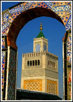 Architectural beauty of a Mosque in Tunis, Tunisia. Tunisia is the northernmost country in Africa and Tunis is its capital. Carthage, Beautiful Mosques, Beautiful Places, Tunisia Africa, Cap Vert, Islamic Architecture, Place Of Worship, Moorish, Africa Travel