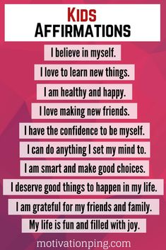 Kids Affirmations & Positive Words For Self Esteem Positive Affirmations For Kids, Morning Affirmations, Positive Words, Daily Affirmations, Positive Quotes, Mindfulness For Kids, Words Of Affirmation, Social Emotional Learning, New Things To Learn