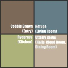 Best colors Ever ~Sherwin Williams. I have all 4 in my house! Cobble Brown in 1st flr. bathrm. Gray'ish blue in bathrm upstairs, Ryegrass in kitchen & Utterly Beige in familyrm!