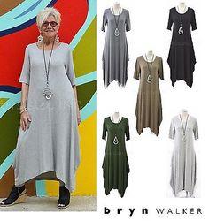 BRYN-WALKER-Heathered-Jersey-CHELSEA-DRESS-Drape-Long-XS-S-M-L-XL-2016-COLORS