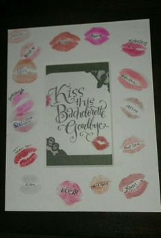 Bachelorette Party kiss frame. love this! we could get a picture of all of us to put in the frame! it looks like it's just a cardboard cut out or something. i can't think of the word i'm looking for haha