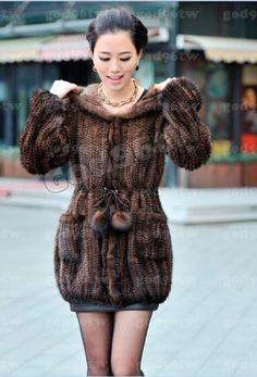 100 Real Genuine Knit Mink Fur with Hood Long Coat Outwear Jacket Winter Ladies | eBay