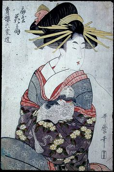 Hanaôgi of the Ôgiya, from the series Selections from Six Houses of the Yoshiwara (Seirô rokkasen).Japanese, Edo period, about Artist Kitagawa Utamaro I (Japanese, Japanese Drawings, Japanese Prints, Art Indien, Japanese Bobtail, Geisha Art, Japanese Folklore, Traditional Japanese Art, Art Asiatique, Korean Art