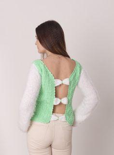 Knitted woman sweater Open bow back sweater by MyBeautyKnitting
