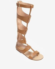 Sigerson Morrison tan knee-high flat gladiator sandals ($495)