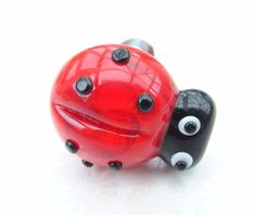 Knob Pull for Cupboard Drawer or Door Glass Ladybird by shineon2, £12.50