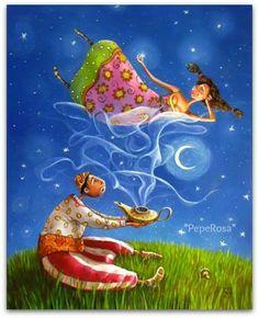 """Aladdin's Lamp - La lampada di Aladino Libro persiano """"Le mille e una notte"""""""