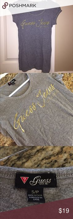 Guess Jeans Los Angeles bling tee Amazing condition gray Guess jeans Los Angeles tee size S/p Guess Tops Tees - Short Sleeve