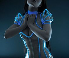 Toss out that old Victoria's Secret lingerie and spoil that special geek in your life by surprising him/her with this sexy TRON corset. This lovely outfit will glow if exposed to bright light – such as UV light – making you look like a sexy character out of the TRON franchise.