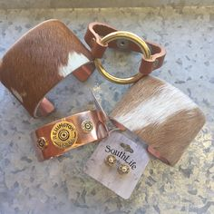Cowhide copper cuffs, mixed shot shell cuffs, circle leather bracelets and more online now at Only Southern Made!