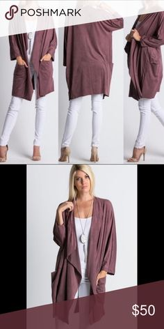 Mauve Faux Suede Jacket from Exclusive Boutique Open front. Hip level front pockets. Mid thigh/above knee length on most. No fasteners. Purchased brand new from a boutique and only wore once. Made in U.S.A. Jackets & Coats
