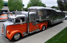 a car guy : Most impressive hot rod truck and trailer I've seen in a while, the Elwoods Garage Spartan Custom Mansion and 1938 Ford COE Hot Rod Trucks, Cool Trucks, Big Trucks, Semi Trucks, Vintage Trailers, Vintage Trucks, Custom Trucks, Custom Cars, Motorcycle Camping