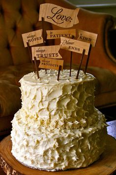 Use your favorite Bible verse or line from a song or poem as your cake topper.Photo Credit: Anecdotes and Apples
