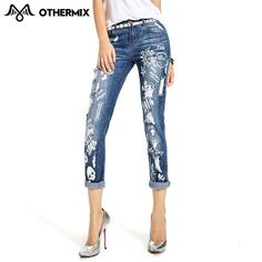 OTHERMIX 2015 spring new graffiti printing colored ripped jeans washed jeansold woman 4MF1475L - http://fashionfromchina.net/?product=othermix-2015-spring-new-graffiti-printing-colored-ripped-jeans-washed-jeansold-woman-4mf1475l