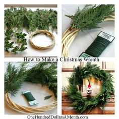 Simple Christmas Wreaths - Succulents, Cinnamon Sticks, Gumdrops, Herbs, Driftwood and More | One Hundred Dollars a Month