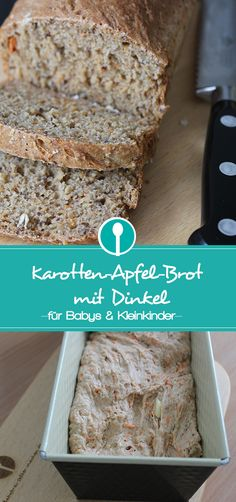 Carrot and apple bread with spelled for babies and Karotten-Apfel-Brot mit Dinkel für Babys und Kleinkinder Delicious spelled bread with carrot and apple for older babies and toddlers. Toddler Meals, Kids Meals, Baby Food Recipes, Baking Recipes, Cake Vegan, Baby Snacks, Maila, Apple Bread, Carrots Cake