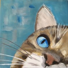 Pussy cat, acryl painting by Gaby von Oven, 2015 Art Work, Oven, My Arts, Fish, Cats, Painting, Animals, Gatos, Animales