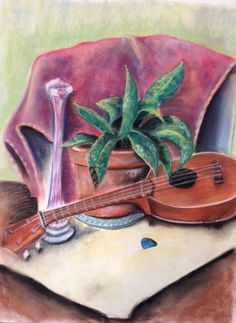 Ukulele with orchid still life Pastel on high rag paper