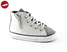 CONVERSE 655118C silber / weiß 21/26 ct seitliche Reißverschlussmädchenschuhe All-Star-Mitte 21 - Kinder sneaker und lauflernschuhe (*Partner-Link)
