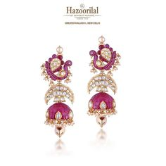 Hazoorilal is among the most reputed diamond jewellers providing you with a great option to buy their exquisitely crafted diamond engagement rings online, which sure make for a memorable ring ceremony. Diamond Earrings Indian, Indian Jewelry Earrings, Wedding Jewelry, Gemstone Jewelry, Gold Jewelry, Women Jewelry, Cz Jewellery, Emerald Necklace, Statement Earrings