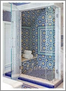 Blue Moroccan Mosaic Tile Bathroom in Cape Codis free HD Wallpaper. Thanks for you visiting Blue Moroccan Mosaic Tile Bathroom in Cape Cod H. Bathroom Layout, Bathroom Interior, Shower Bathroom, Bathroom Closet, Bathroom Small, Bathroom Ideas, Eclectic Bathroom, Dream Bathrooms, Shower Floor
