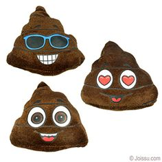 Our mini plush Poo emojis come in sizes ranging from 3.5 to 5 inches.