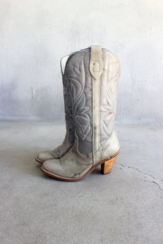 Stacked Heel Cowboy Boots Tall Early 80's by SouthwestVintage, $78.00