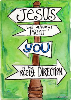 Illustration Print  Jesus Points You in the Right by nicplynel, $2.00