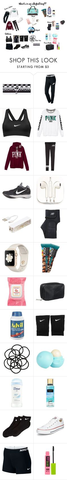 """""""What's in my volleyball bag"""" by makayla-brooke ❤ liked on Polyvore featuring NIKE, Victoria's Secret, PhunkeeTree, Triple C Designs, New Balance, Burt's Bees, Bobbi Brown Cosmetics, Monki, River Island and Converse"""