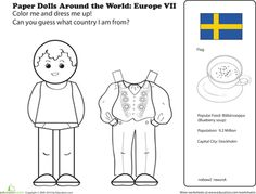 Worksheets: Paper Dolls Around the World: Europe VII