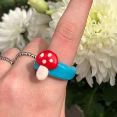 Handmade Wire Jewelry, Funky Jewelry, Cute Jewelry, Fimo Ring, Polymer Clay Ring, Colar Diy, Diy Clay Rings, Accesorios Casual, Cute Clay
