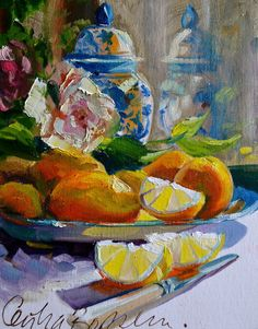 Art+Print+BLOMMETJIE+BLOU+of+lemons+and+a+Delft+by+CECILIAROSSLEE,+$20.00