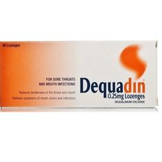 Dequadin Lozenges are clinically proven for the treatment of sore throats and mouth infections. These lozenges also ease common mouth and throat infections like pharyngitis, glossitis, oral thrush, tonsillitis an